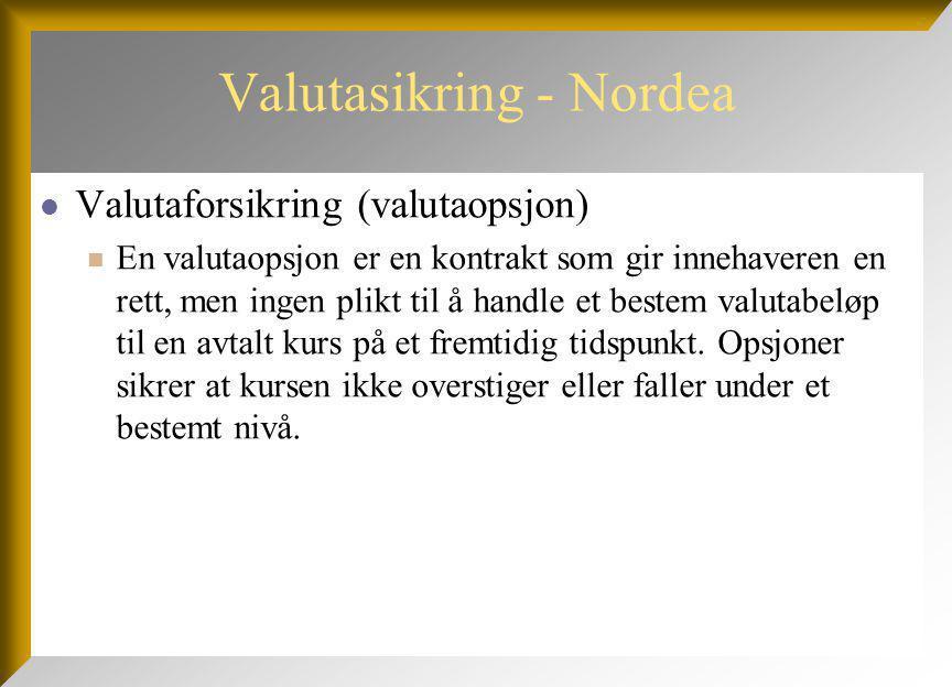Valutasikring - Nordea Valutaforsikring (valutaopsjon) En valutaopsjon er en kontrakt som gir innehaveren en rett, men ingen plikt til å handle et bestem valutabeløp til en avtalt kurs på et fremtidig tidspunkt.