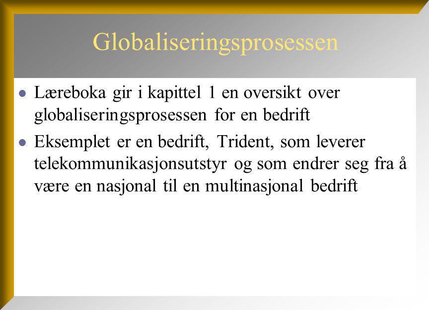 Globaliseringsprosessen Læreboka gir i kapittel 1 en oversikt over globaliseringsprosessen for en bedrift Eksemplet er en bedrift, Trident, som leverer telekommunikasjonsutstyr og som endrer seg fra å være en nasjonal til en multinasjonal bedrift