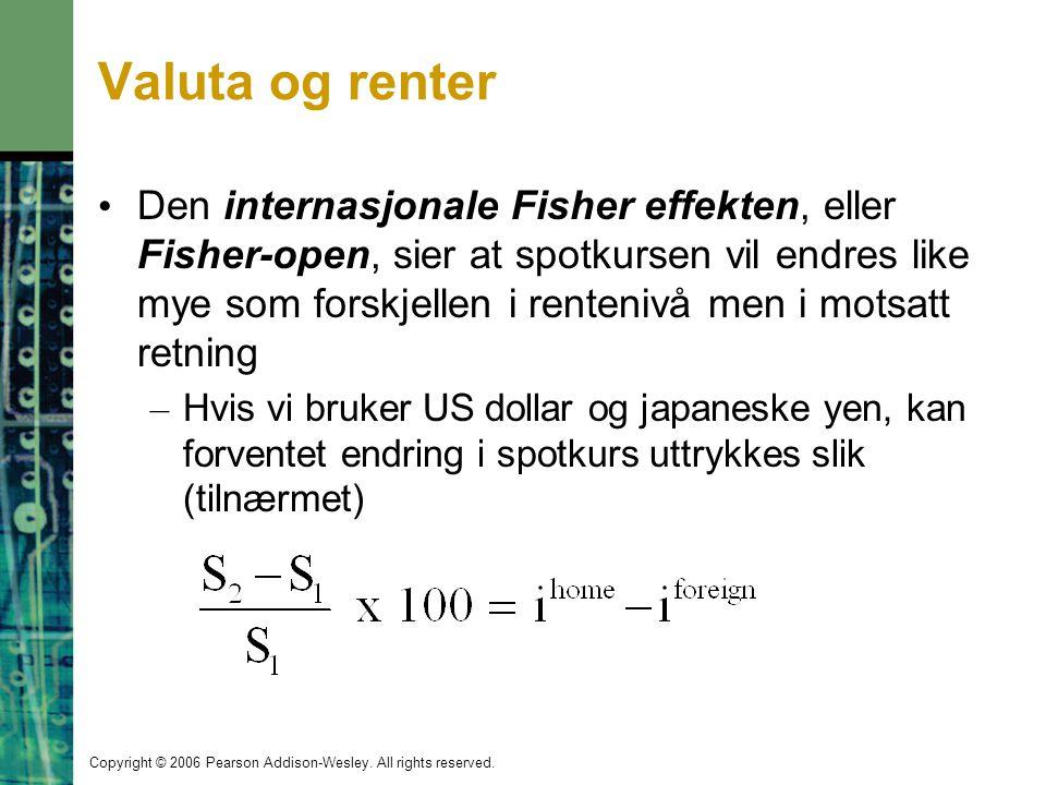 Copyright © 2006 Pearson Addison-Wesley. All rights reserved. Valuta og renter Den internasjonale Fisher effekten, eller Fisher-open, sier at spotkurs