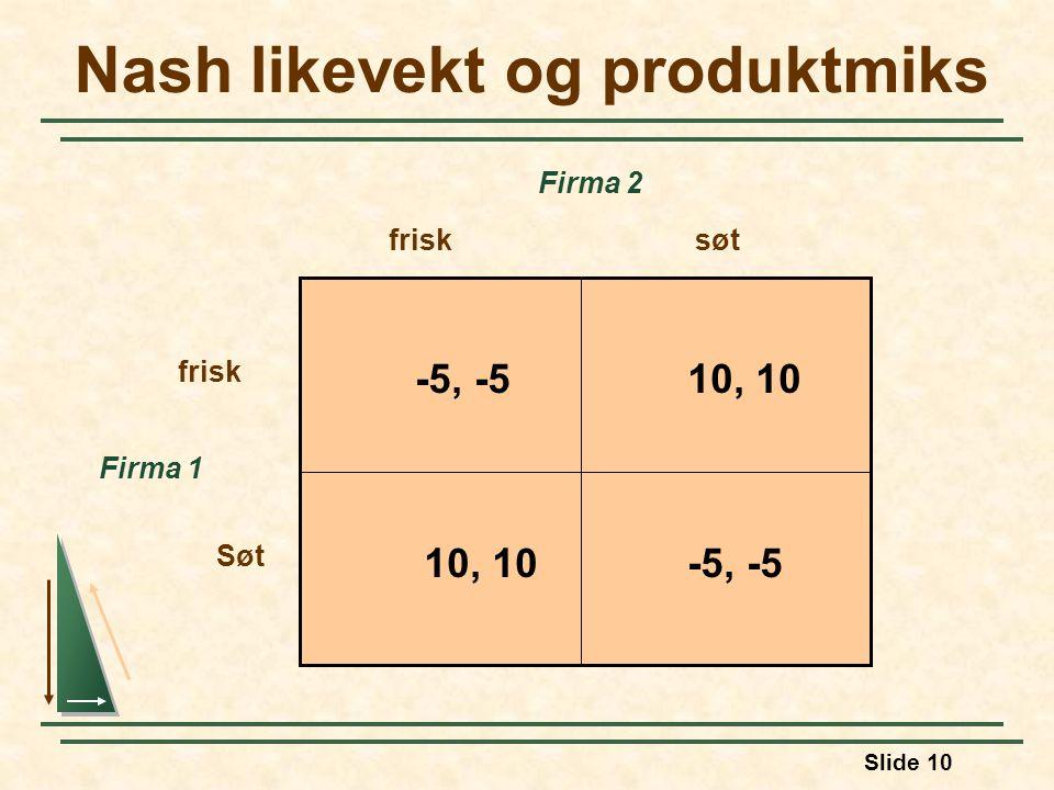 Slide 10 Nash likevekt og produktmiks Firma 1 frisksøt frisk Søt Firma 2 -5, -510, 10 -5, -510, 10