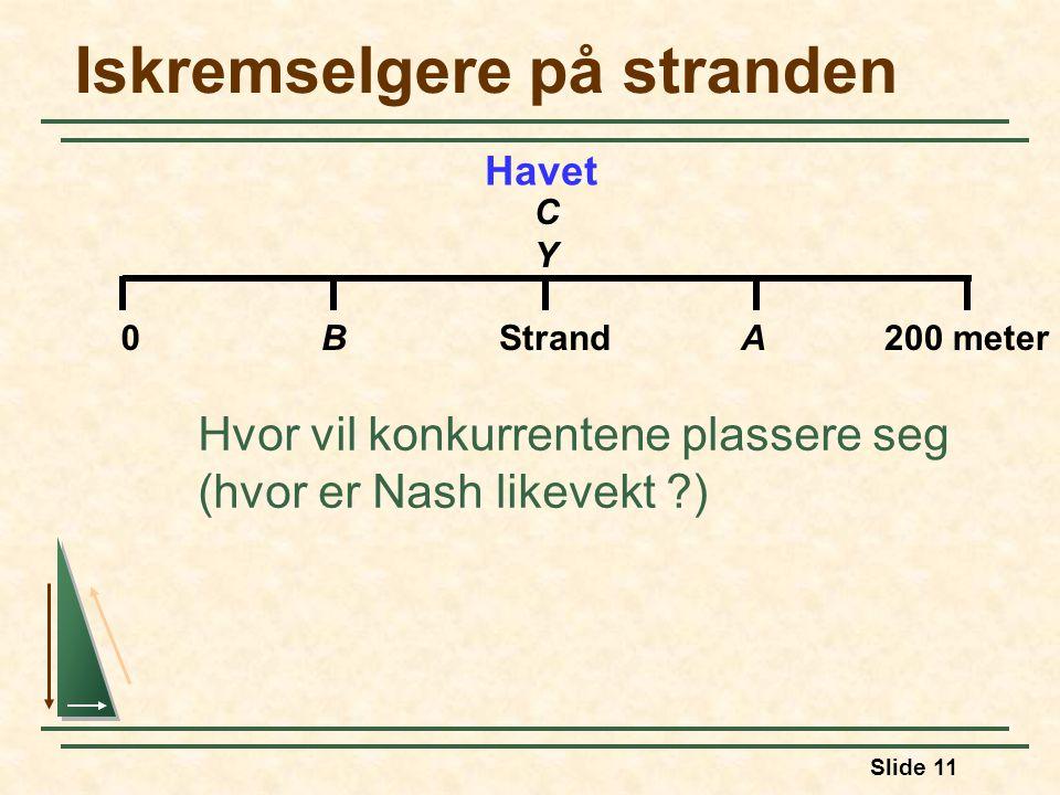 Slide 11 Iskremselgere på stranden Hvor vil konkurrentene plassere seg (hvor er Nash likevekt ?) Havet 0BStrandA200 meter CYCY