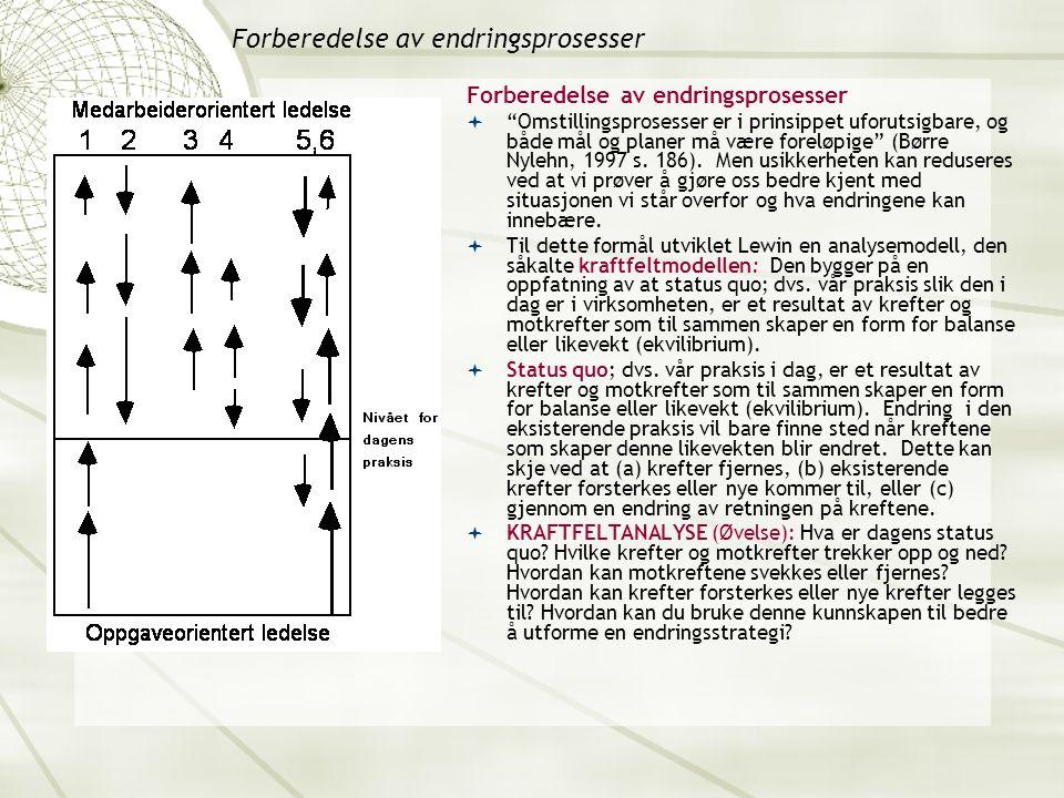 Forberedelse av endringsprosesser  Omstillingsprosesser er i prinsippet uforutsigbare, og både mål og planer må være foreløpige (Børre Nylehn, 1997 s.