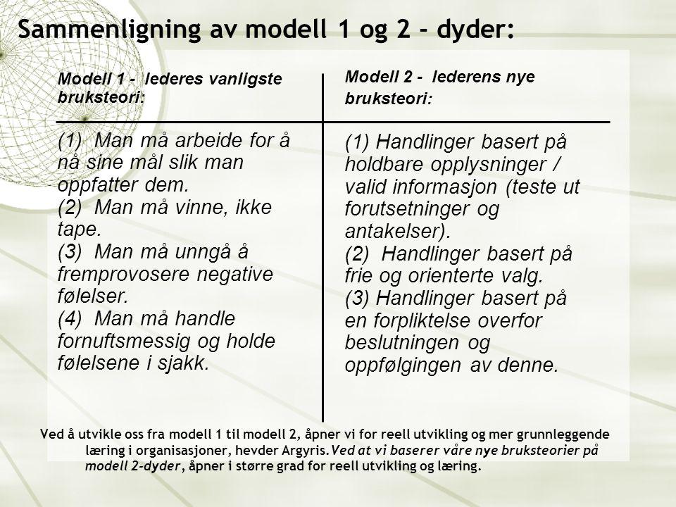 Sammenligning av modell 1 og 2 - dyder: Modell 1 - lederes vanligste bruksteori: (1) Man må arbeide for å nå sine mål slik man oppfatter dem.
