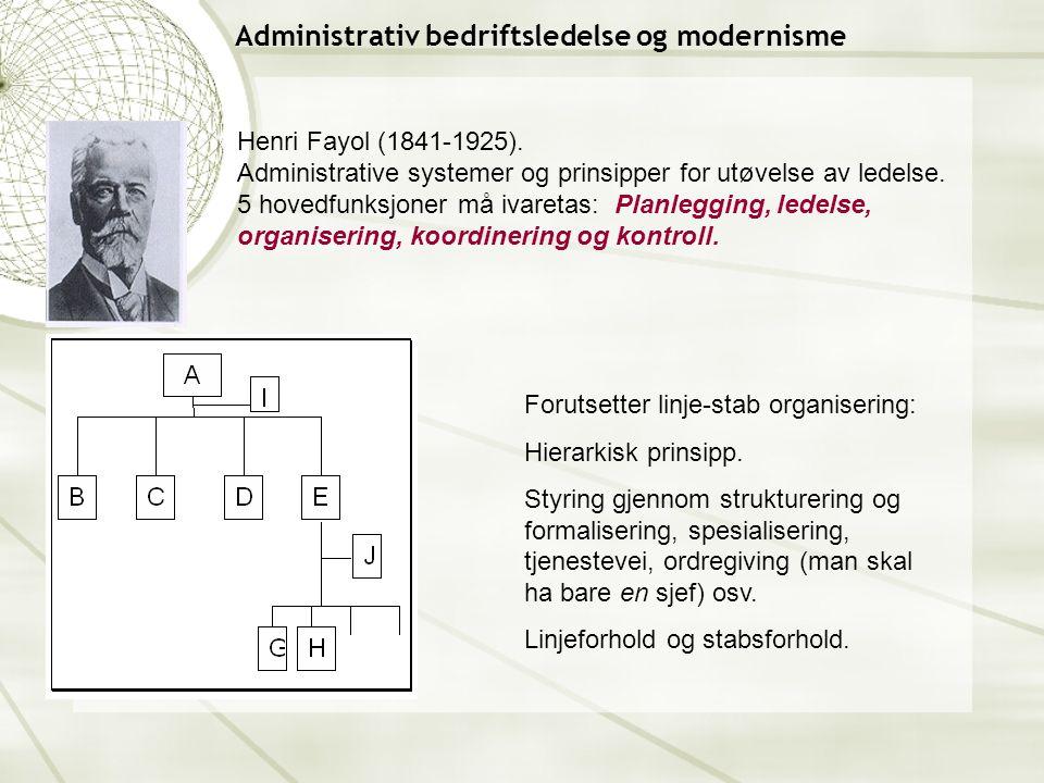 Administrativ bedriftsledelse og modernisme Henri Fayol (1841-1925).