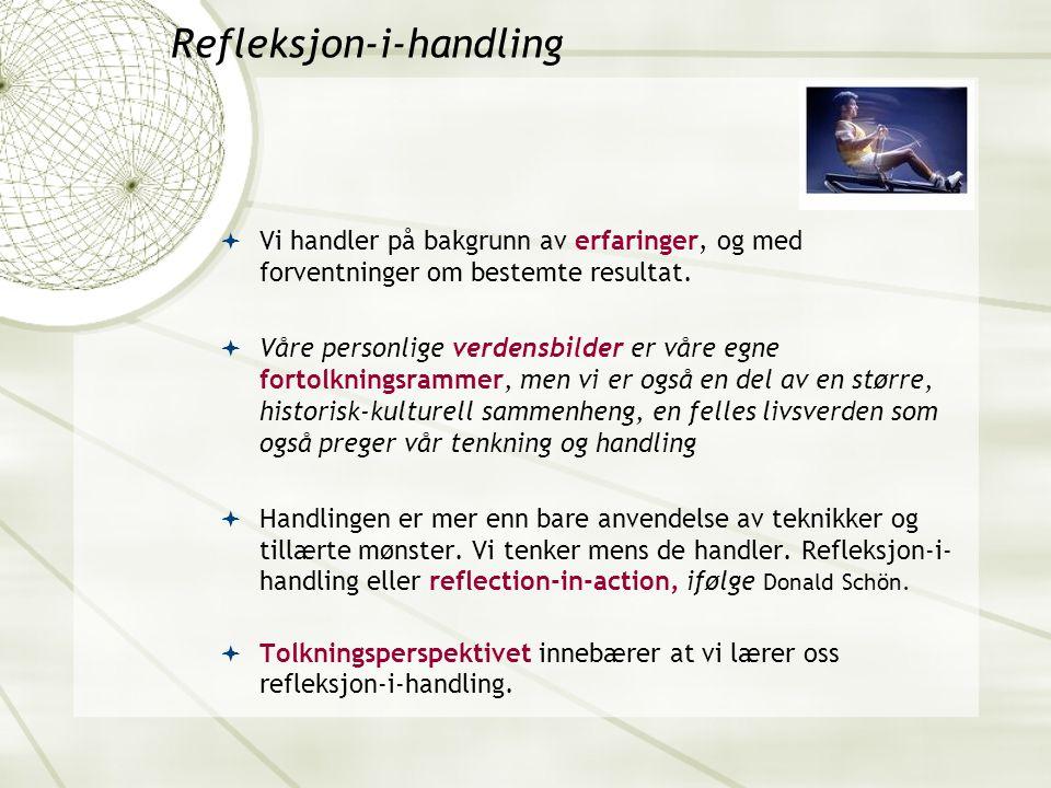 Refleksjon-i-handling  Vi handler på bakgrunn av erfaringer, og med forventninger om bestemte resultat.