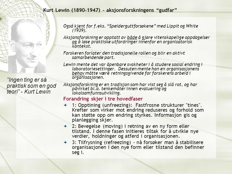 Kurt Lewin (1890-1947) - aksjonsforskningens gudfar Også kjent for f.eks.