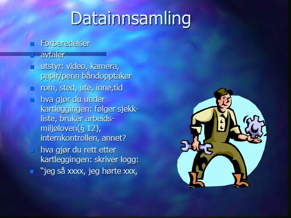 Data betyr innsamlet informasjon n Innledning n presentasjon av informantene n presentasjon av resultatene: n tematisk n kronologisk n tekst n tabell