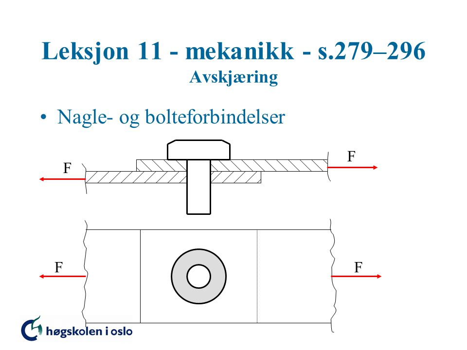 Leksjon 11 - mekanikk - s.279–296 Avskjæring Nagle- og bolteforbindelser Skjærspenning i nagle Strekkspenning i bjelke Hulltrykkspenning Avskjæring i bjelke