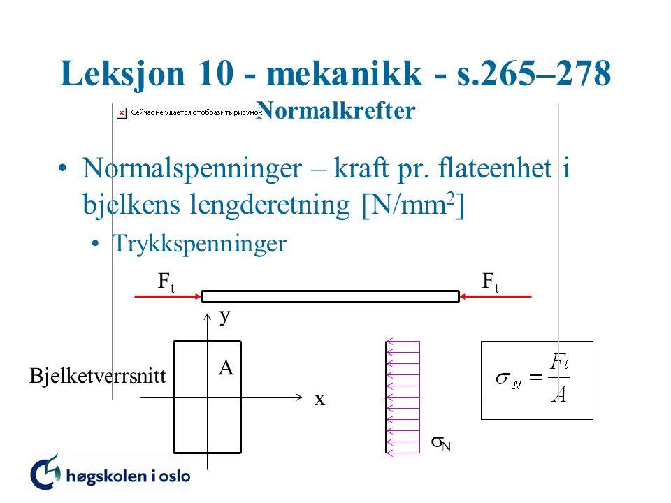Leksjon 10 - mekanikk - s.265–278 Normalkrefter Normalspenninger – kraft pr. flateenhet i bjelkens lengderetning  N/mm 2  Trykkspenninger x y A Bjel