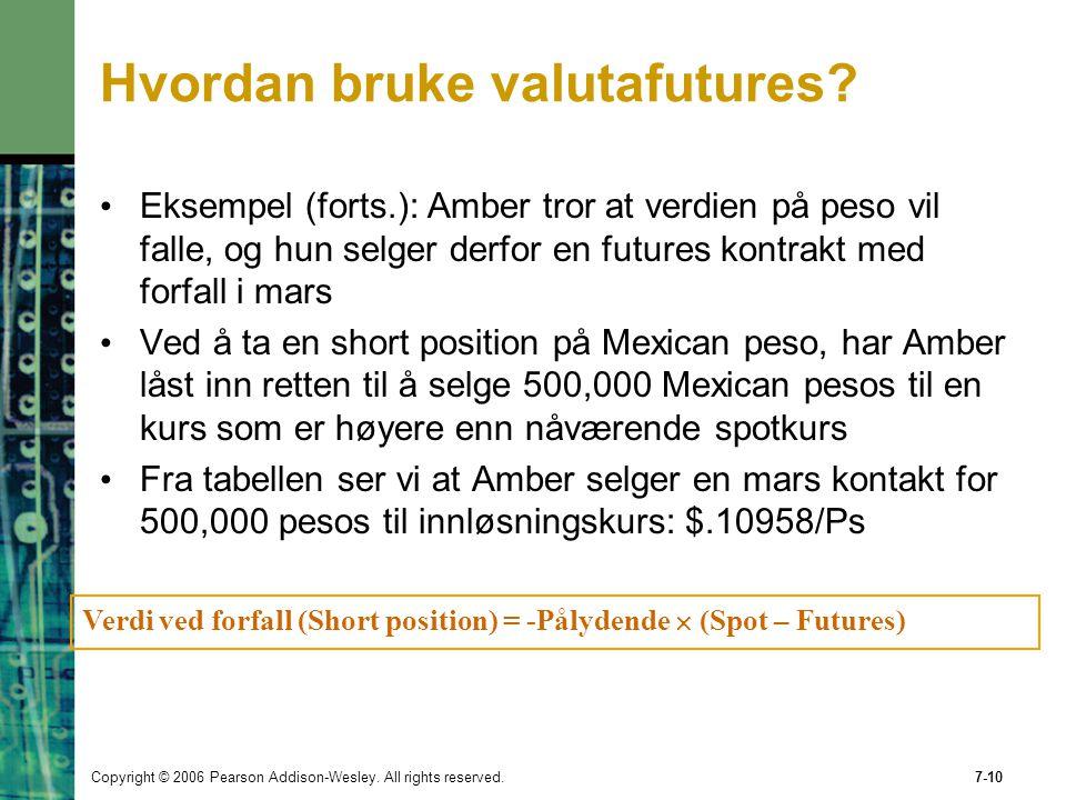 Copyright © 2006 Pearson Addison-Wesley. All rights reserved.7-10 Verdi ved forfall (Short position) = -Pålydende  (Spot – Futures) Hvordan bruke val