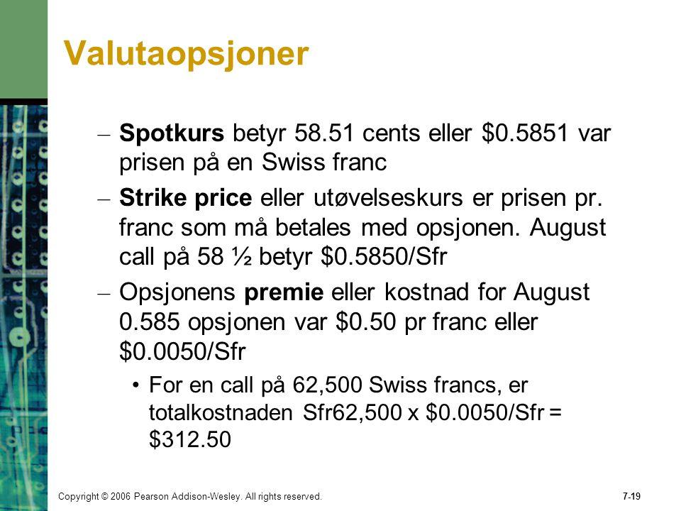 Copyright © 2006 Pearson Addison-Wesley. All rights reserved.7-19 Valutaopsjoner – Spotkurs betyr 58.51 cents eller $0.5851 var prisen på en Swiss fra