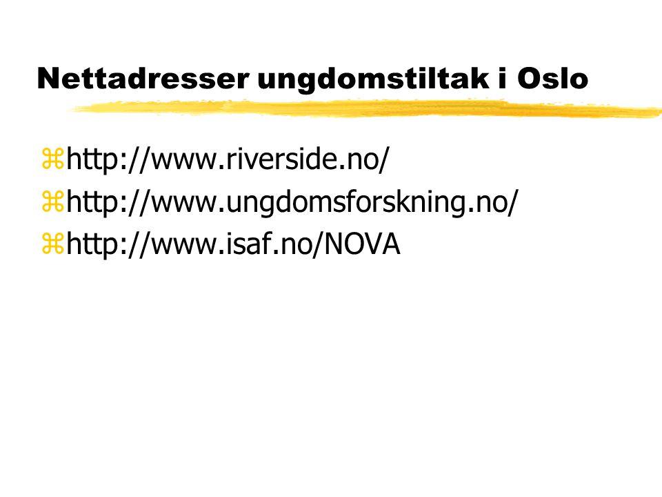Nettadresser ungdomstiltak i Oslo zhttp://www.riverside.no/ zhttp://www.ungdomsforskning.no/ zhttp://www.isaf.no/NOVA