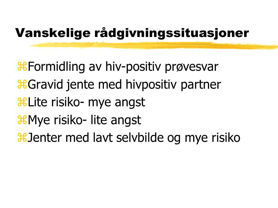 Vanskelige rådgivningssituasjoner zFormidling av hiv-positiv prøvesvar zGravid jente med hivpositiv partner zLite risiko- mye angst zMye risiko- lite angst zJenter med lavt selvbilde og mye risiko