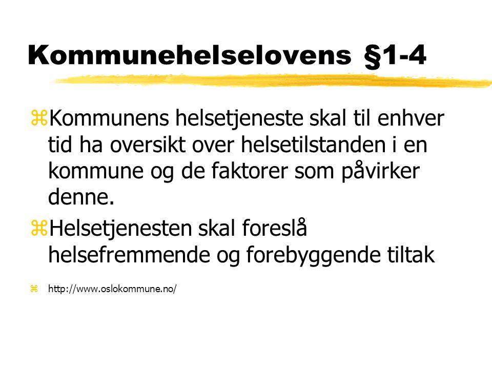 Kommunehelselovens §1-4 zKommunens helsetjeneste skal til enhver tid ha oversikt over helsetilstanden i en kommune og de faktorer som påvirker denne.