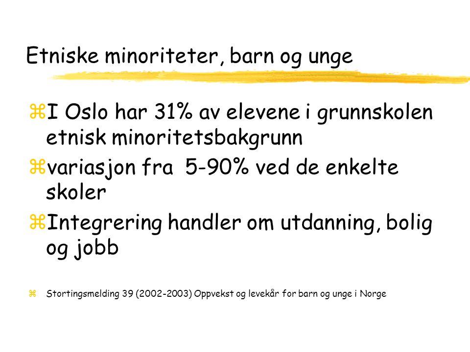 Etniske minoriteter, barn og unge zI Oslo har 31% av elevene i grunnskolen etnisk minoritetsbakgrunn zvariasjon fra 5-90% ved de enkelte skoler zIntegrering handler om utdanning, bolig og jobb zStortingsmelding 39 (2002-2003) Oppvekst og levekår for barn og unge i Norge