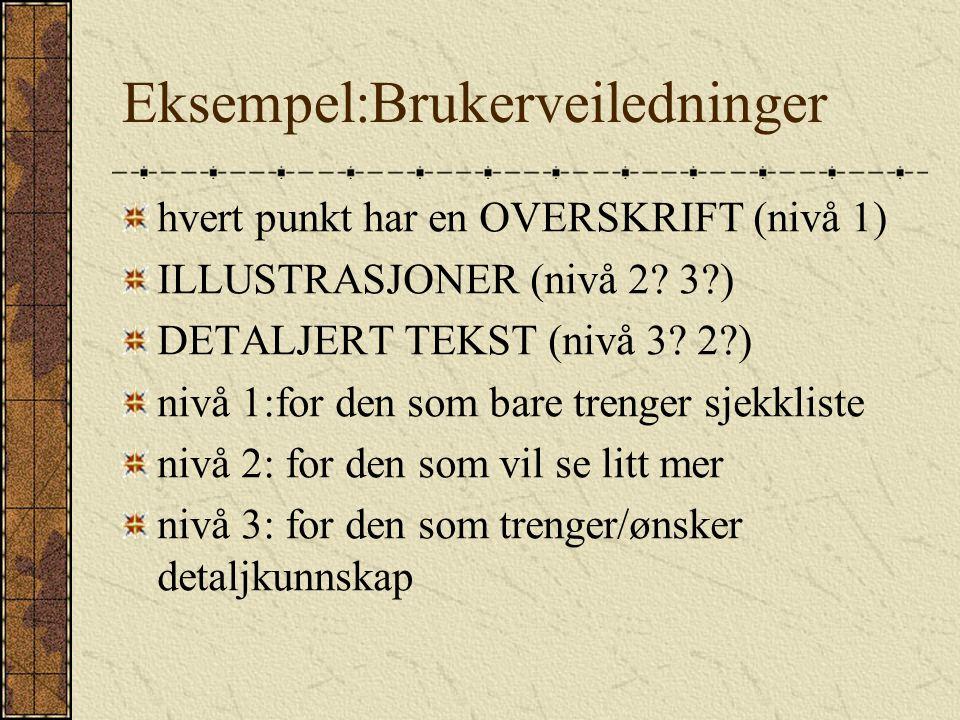 Eksempel:Brukerveiledninger hvert punkt har en OVERSKRIFT (nivå 1) ILLUSTRASJONER (nivå 2.