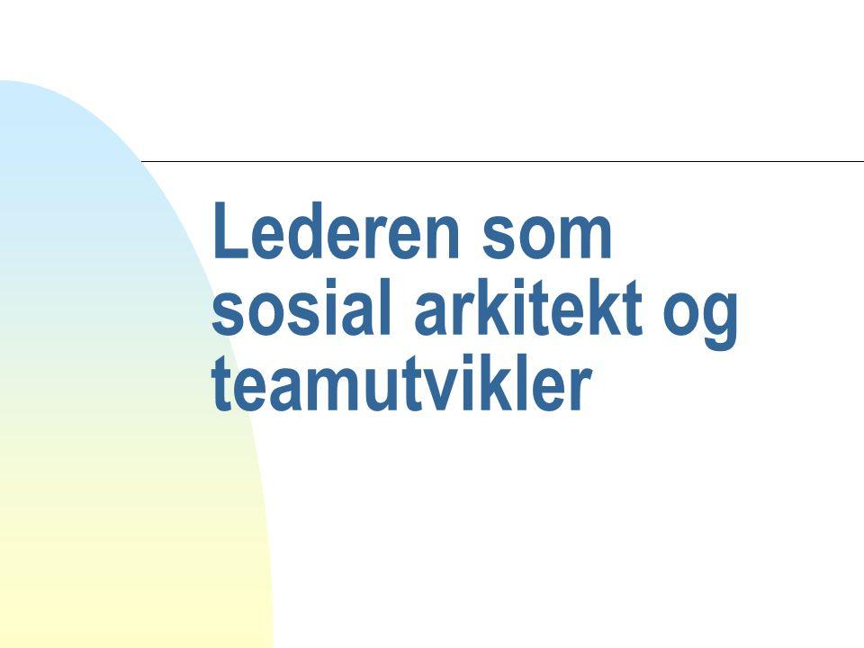 Lederen som sosial arkitekt og teamutvikler