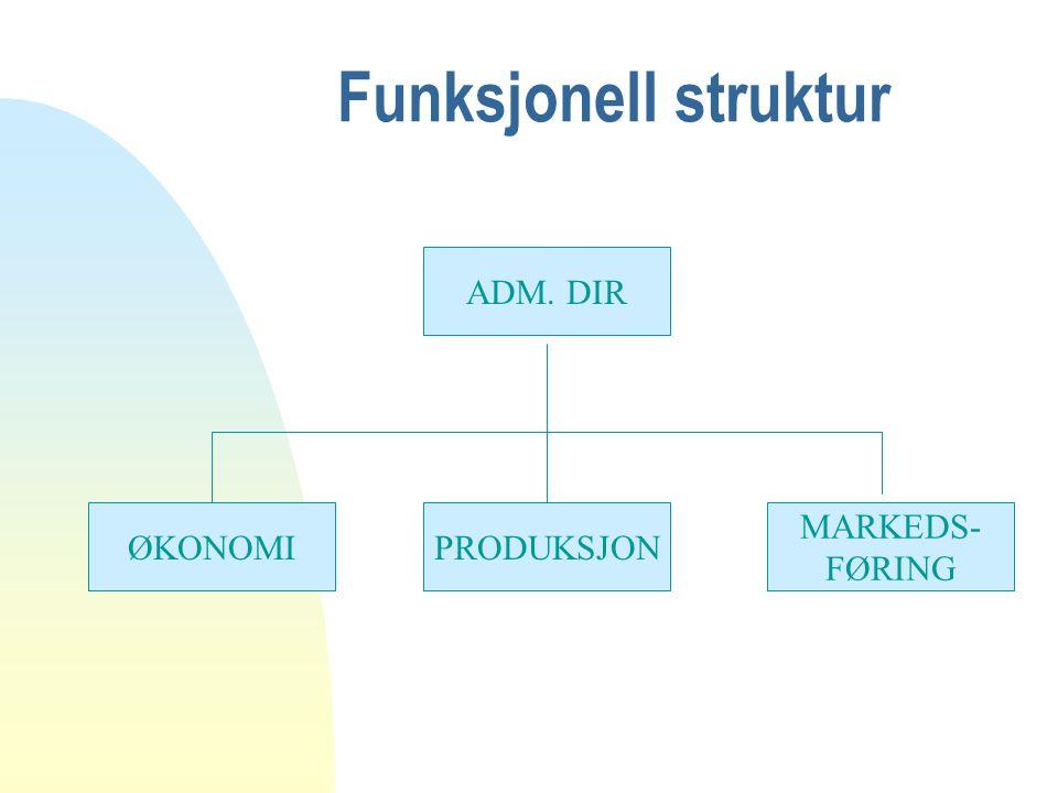 Funksjonell struktur ADM. DIR MARKEDS- FØRING PRODUKSJONØKONOMI