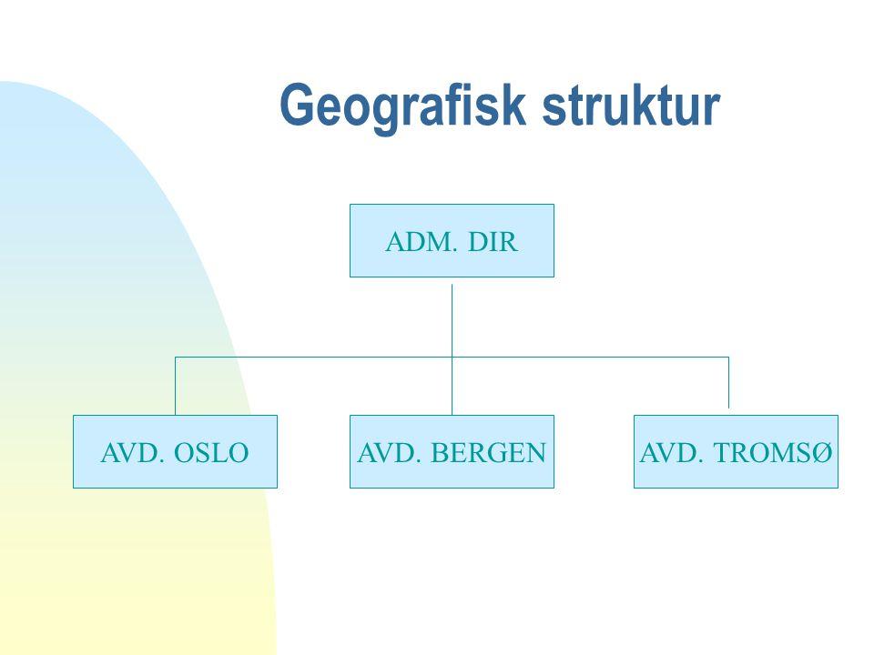 Geografisk struktur ADM. DIR AVD. TROMSØAVD. BERGENAVD. OSLO