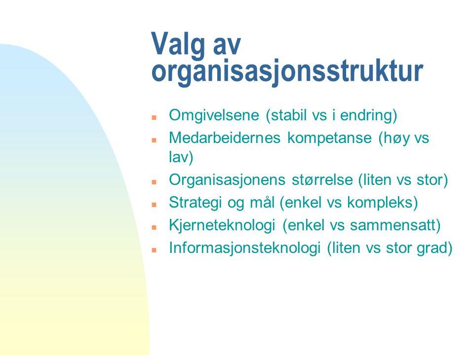 Valg av organisasjonsstruktur n Omgivelsene (stabil vs i endring) n Medarbeidernes kompetanse (høy vs lav) n Organisasjonens størrelse (liten vs stor)