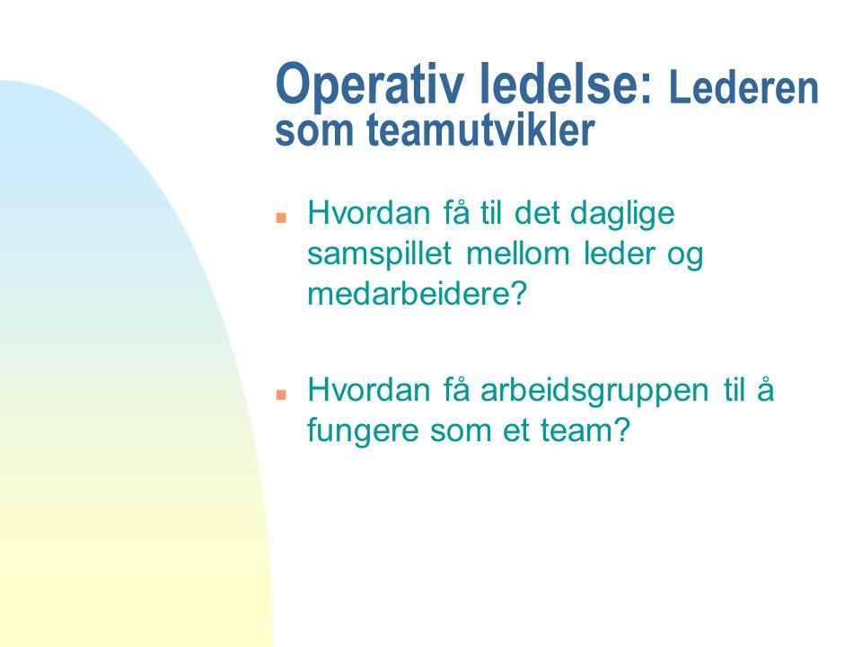Operativ ledelse: Lederen som teamutvikler n Hvordan få til det daglige samspillet mellom leder og medarbeidere? n Hvordan få arbeidsgruppen til å fun