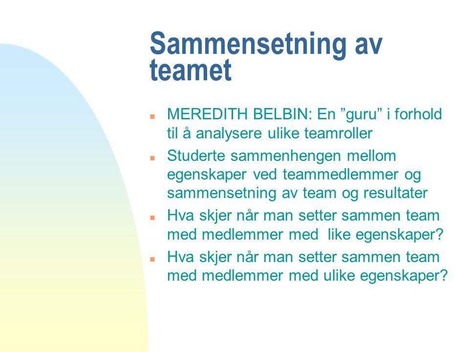 Sammensetning av teamet n MEREDITH BELBIN: En guru i forhold til å analysere ulike teamroller n Studerte sammenhengen mellom egenskaper ved teammedlemmer og sammensetning av team og resultater n Hva skjer når man setter sammen team med medlemmer med like egenskaper.