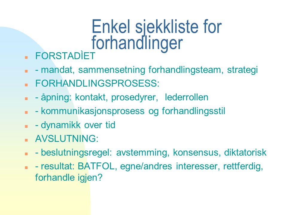 Enkel sjekkliste for forhandlinger n FORSTADÌET n - mandat, sammensetning forhandlingsteam, strategi n FORHANDLINGSPROSESS: n - åpning: kontakt, prose