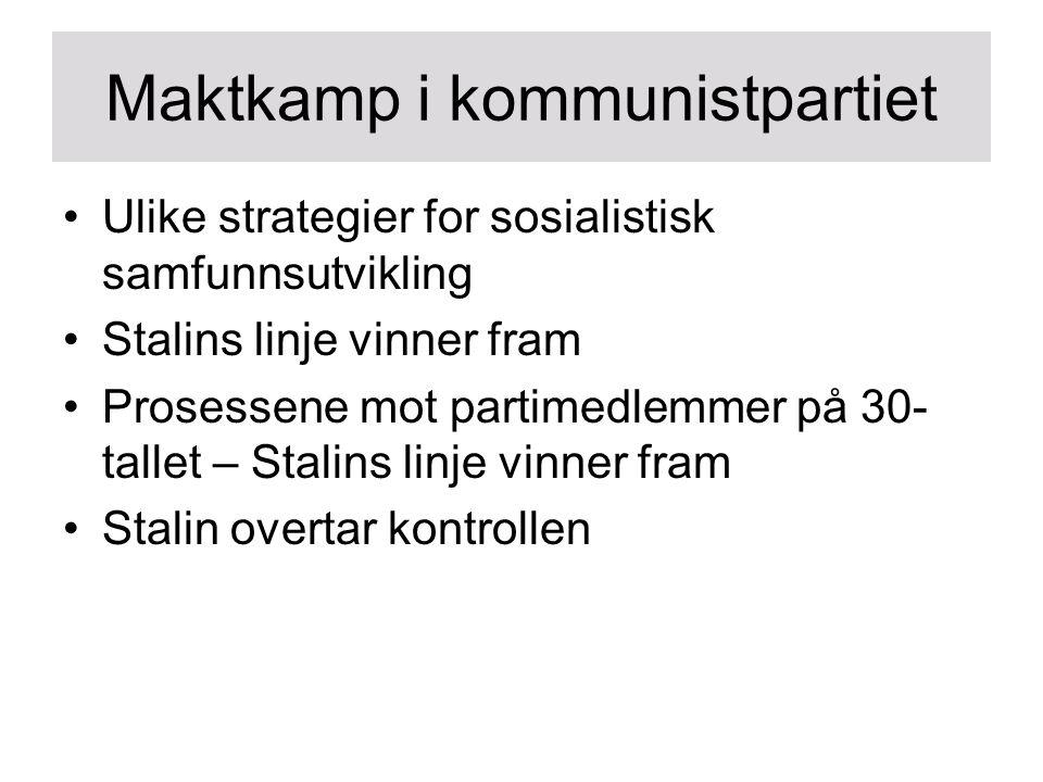 Maktkamp i kommunistpartiet Ulike strategier for sosialistisk samfunnsutvikling Stalins linje vinner fram Prosessene mot partimedlemmer på 30- tallet – Stalins linje vinner fram Stalin overtar kontrollen