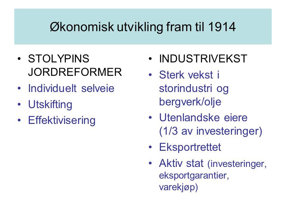 Økonomisk utvikling fram til 1914 STOLYPINS JORDREFORMER Individuelt selveie Utskifting Effektivisering INDUSTRIVEKST Sterk vekst i storindustri og be