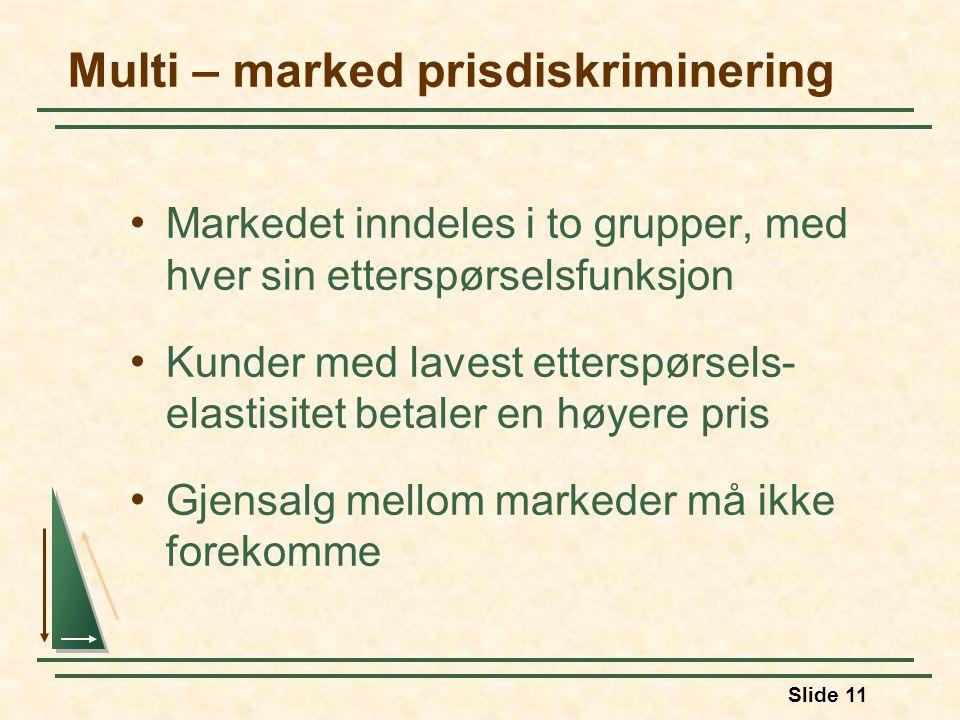 Slide 11 Multi – marked prisdiskriminering Markedet inndeles i to grupper, med hver sin etterspørselsfunksjon Kunder med lavest etterspørsels- elastis