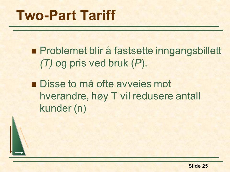 Slide 25 Two-Part Tariff Problemet blir å fastsette inngangsbillett (T) og pris ved bruk (P). Disse to må ofte avveies mot hverandre, høy T vil reduse