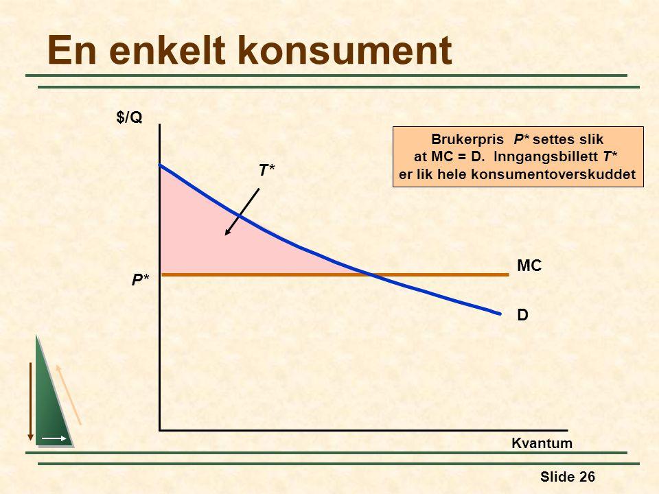 Slide 26 Brukerpris P* settes slik at MC = D. Inngangsbillett T* er lik hele konsumentoverskuddet T* En enkelt konsument Kvantum $/Q MC P* D
