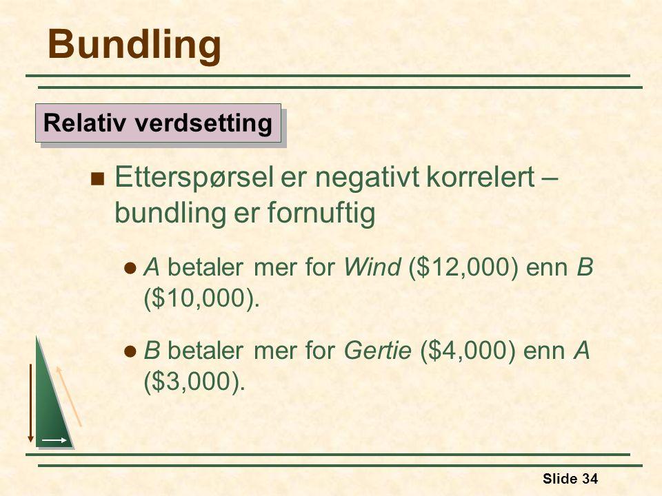 Slide 34 Bundling Etterspørsel er negativt korrelert – bundling er fornuftig A betaler mer for Wind ($12,000) enn B ($10,000). B betaler mer for Gerti