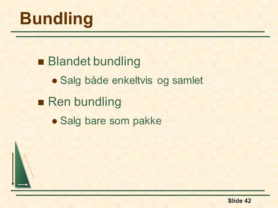 Slide 42 Bundling Blandet bundling Salg både enkeltvis og samlet Ren bundling Salg bare som pakke