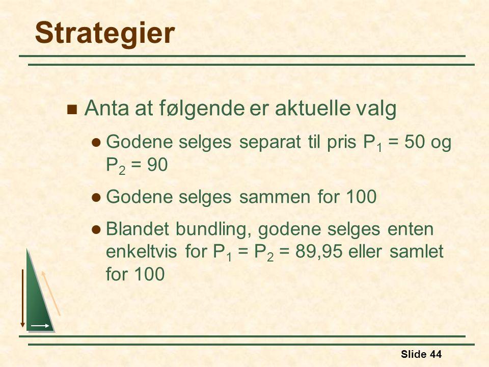 Slide 44 Strategier Anta at følgende er aktuelle valg Godene selges separat til pris P 1 = 50 og P 2 = 90 Godene selges sammen for 100 Blandet bundlin