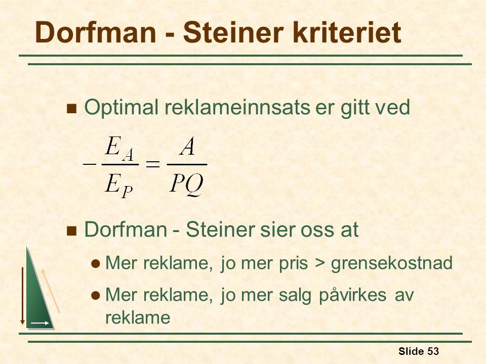 Slide 53 Dorfman - Steiner kriteriet Optimal reklameinnsats er gitt ved Dorfman - Steiner sier oss at Mer reklame, jo mer pris > grensekostnad Mer rek