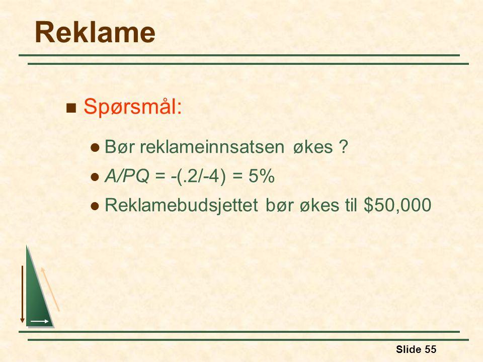 Slide 55 Reklame Spørsmål: Bør reklameinnsatsen økes ? A/PQ = -(.2/-4) = 5% Reklamebudsjettet bør økes til $50,000