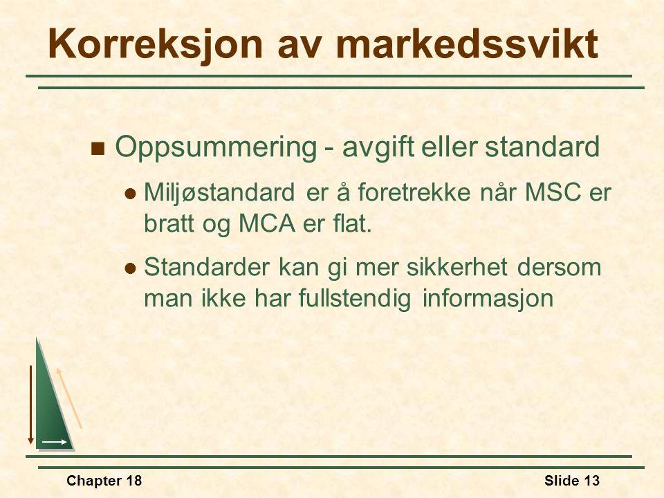 Chapter 18Slide 13 Oppsummering - avgift eller standard Miljøstandard er å foretrekke når MSC er bratt og MCA er flat. Standarder kan gi mer sikkerhet