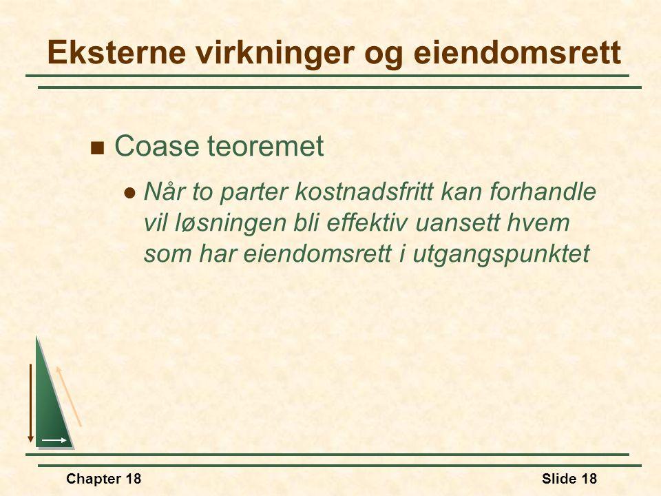 Chapter 18Slide 18 Coase teoremet Når to parter kostnadsfritt kan forhandle vil løsningen bli effektiv uansett hvem som har eiendomsrett i utgangspunktet Eksterne virkninger og eiendomsrett