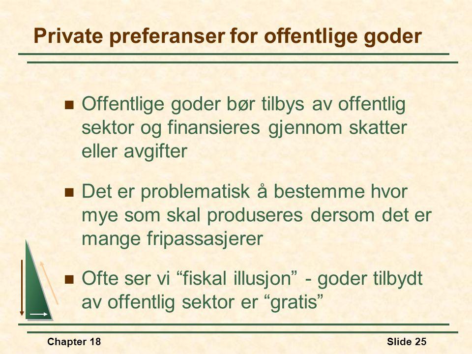 Chapter 18Slide 25 Private preferanser for offentlige goder Offentlige goder bør tilbys av offentlig sektor og finansieres gjennom skatter eller avgif