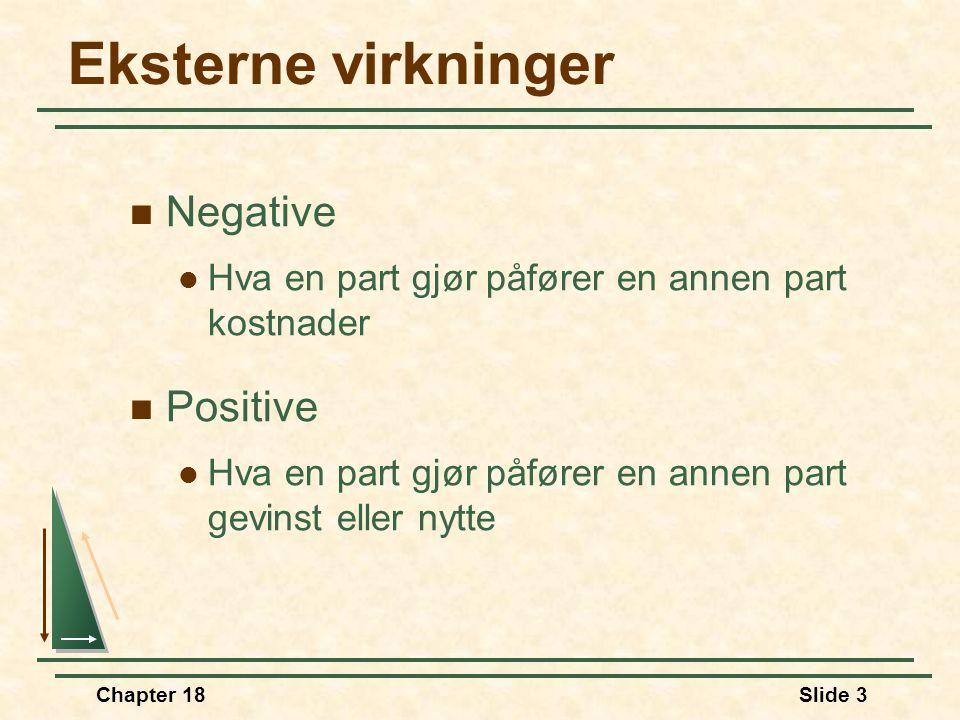 Chapter 18Slide 3 Eksterne virkninger Negative Hva en part gjør påfører en annen part kostnader Positive Hva en part gjør påfører en annen part gevins