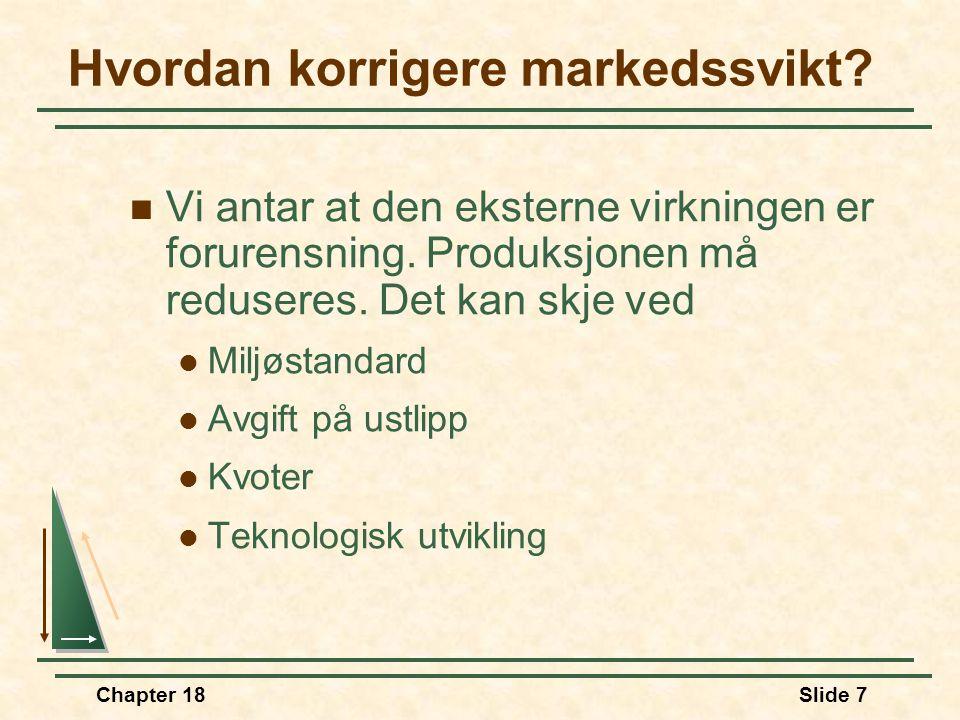 Chapter 18Slide 7 Hvordan korrigere markedssvikt.