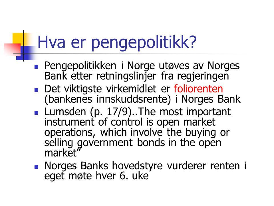 Hva er pengepolitikk.
