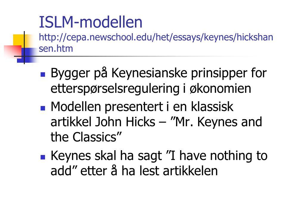 ISLM-modellen http://cepa.newschool.edu/het/essays/keynes/hickshan sen.htm Bygger på Keynesianske prinsipper for etterspørselsregulering i økonomien Modellen presentert i en klassisk artikkel John Hicks – Mr.