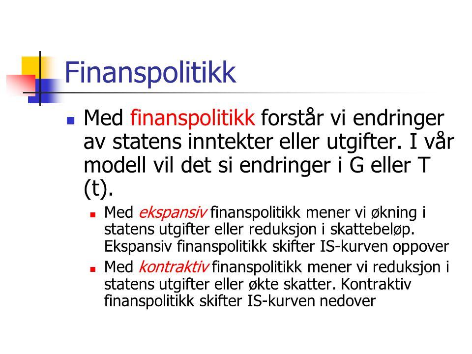Finanspolitikk Med finanspolitikk forstår vi endringer av statens inntekter eller utgifter.