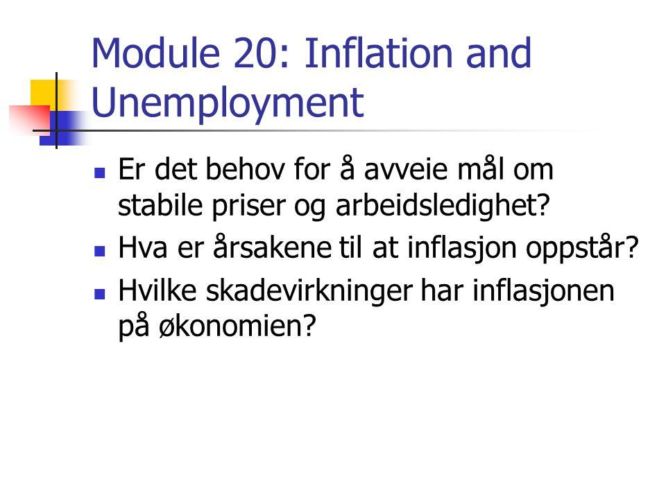 Module 20: Inflation and Unemployment Er det behov for å avveie mål om stabile priser og arbeidsledighet.