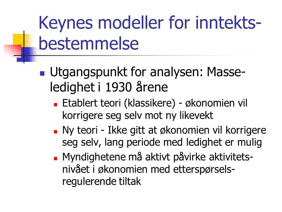 Keynes modeller for inntekts- bestemmelse Utgangspunkt for analysen: Masse- ledighet i 1930 årene Etablert teori (klassikere) - økonomien vil korrigere seg selv mot ny likevekt Ny teori - Ikke gitt at økonomien vil korrigere seg selv, lang periode med ledighet er mulig Myndighetene må aktivt påvirke aktivitets- nivået i økonomien med etterspørsels- regulerende tiltak