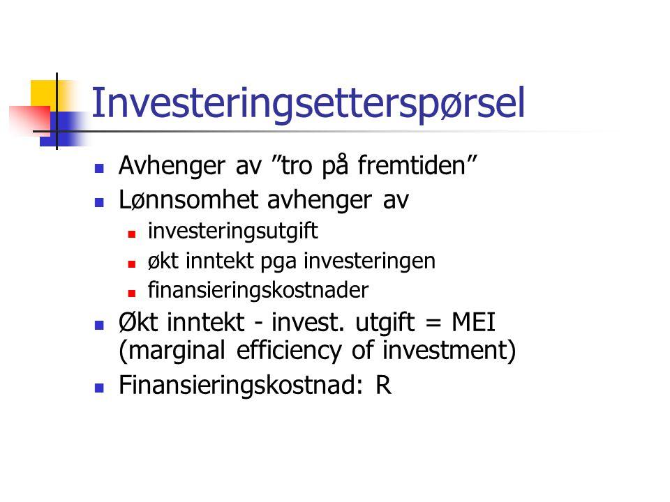Investeringsetterspørsel Avhenger av tro på fremtiden Lønnsomhet avhenger av investeringsutgift økt inntekt pga investeringen finansieringskostnader Økt inntekt - invest.