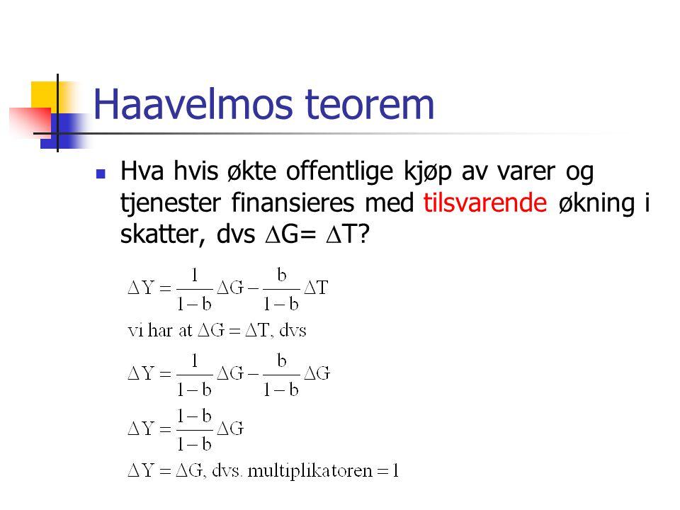 Haavelmos teorem Hva hvis økte offentlige kjøp av varer og tjenester finansieres med tilsvarende økning i skatter, dvs  G=  T?
