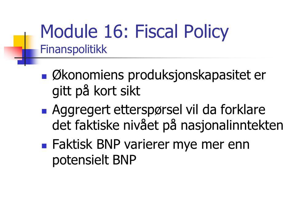 Module 16: Fiscal Policy Finanspolitikk Økonomiens produksjonskapasitet er gitt på kort sikt Aggregert etterspørsel vil da forklare det faktiske nivået på nasjonalinntekten Faktisk BNP varierer mye mer enn potensielt BNP